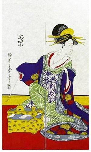 Japanese Noren Ukiyoe WAKASHIBA Curtain Tapestry Partition 85 x 150cm BIG SIZE!