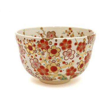 White /Black Plum Grove Green Tea Bowl ,Matcha Cup Pottery from Eikou Miyaji NEW