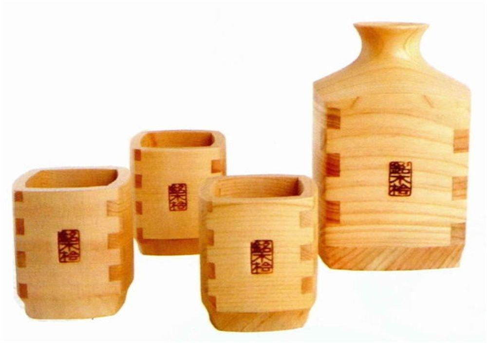 Japanese Traditional Sake Bottle & Cup set Kiso hinoki ,Cypress Wooden Japan NEW