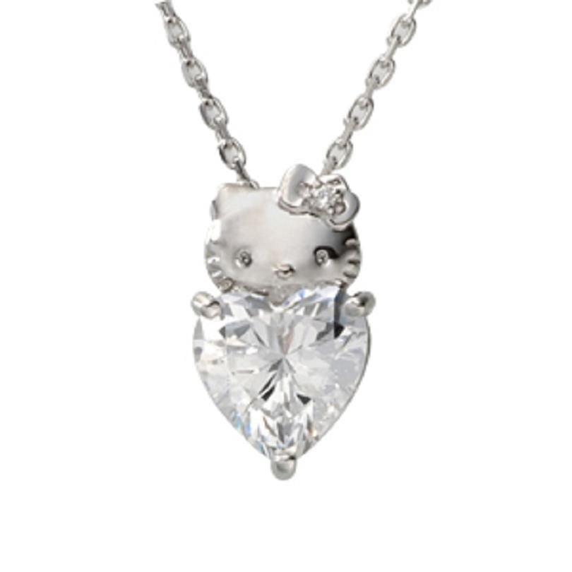Hello Kitty Heart Pendant Necklace silver 925 - Swarovski Elements from Japan