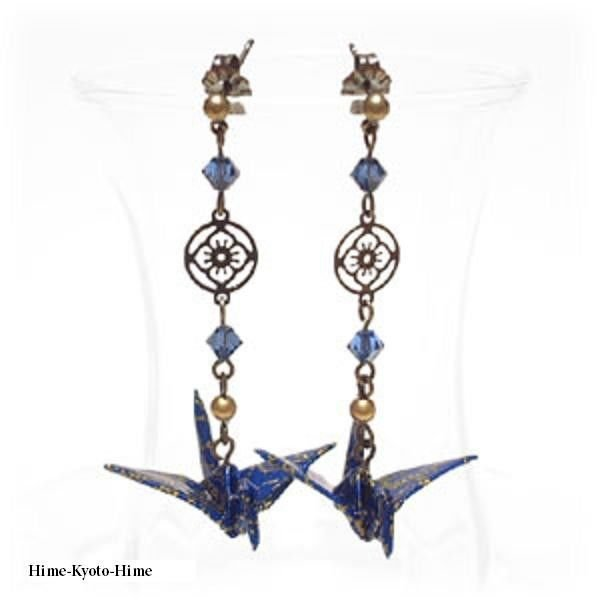Pierced Earrings of Origami Crane + Swarovski Earrings,Japanese style for Kimono