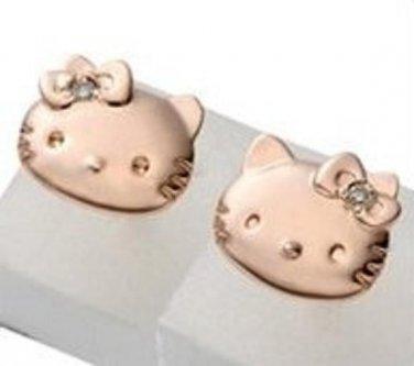 SANRIO Hello Kitty & Mimyi Simple Faith Diamond Earrings PinkGold from Japan NEW