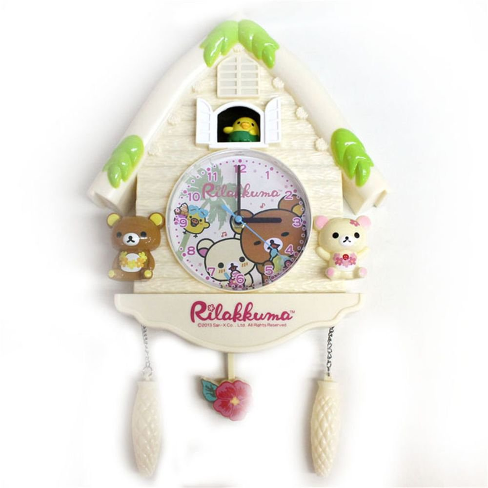 "Rilakkuma Small Log House Wall Clock  Aloha ""Beige"" from Japan NEW"