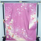 """Lady purple""  High Class Furisode Kimono Set  Pure Silk 100 % M for Women`s NEW"