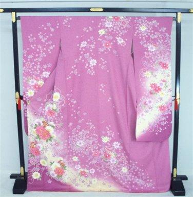 """Lady purple""  High Class Furisode Kimono Set  Pure Silk 100 % M for Women`s NEW"