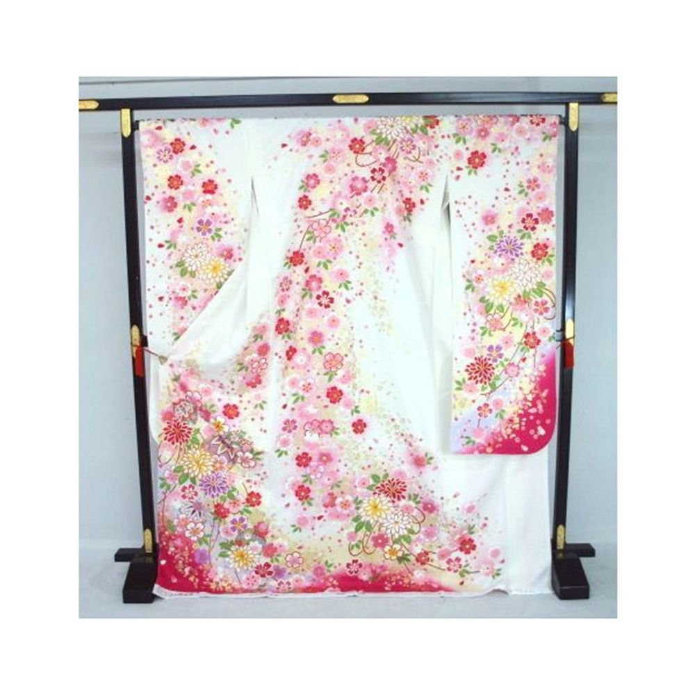 M-L Tall Size Floral Design of White x Pink Kyoto Furisode Kimono Set  for NEW