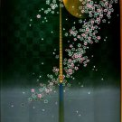 Japanese NOREN Full Moon & Sakura ( Cherry Blossom )Doorway black from Japan NEW