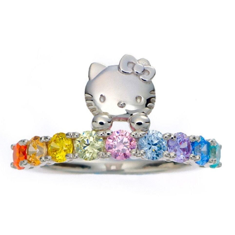 SANRIO HELLO KITTY Swarovski Rainbow Ring Silver JAPAN New