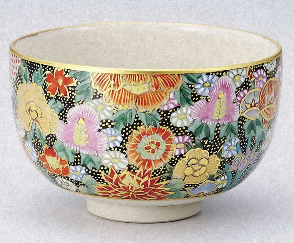 KUTANI YAKI Bowl  Honkin Hanazume from Taiga Green Tea Cup Japan EMS Free shipp