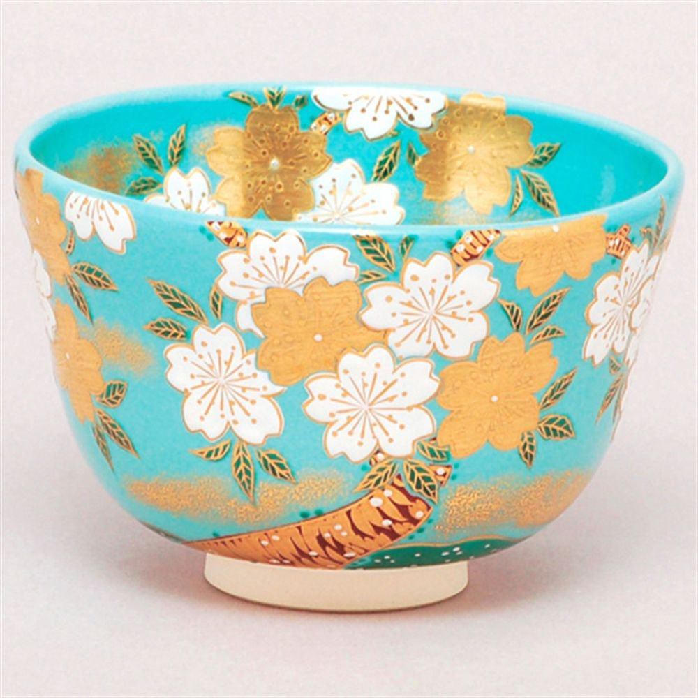 Pale Blue x SAKURA ( Cherry Blossom ) Matcha Tea Bowl from Japan NEW�