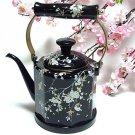 """Enamel Kettle Cherry """"Thread Sakura"""" Black 1.5L Kettle for Tee ,Pot Japan NEw"""