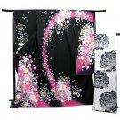 "Kyoto Furisode Kimono Set ""Black butterfly Silk Regular M for Womens NEW Japan"