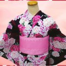 Yukata set Black large-flowered Size M Women's Kimono Dress Cosplay Kyoto New