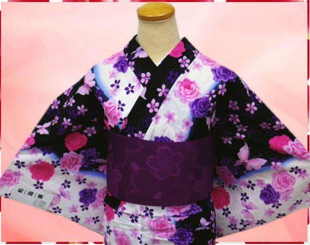 Yukata Kimono set Rose & butterfly for Women's Cosplay Dress Geisha Kyoto  New