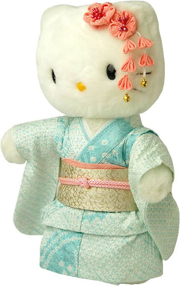 Japanese Maiko Kitty Silk Kimono Doll Figures, Plush Light blue from Japan NEW