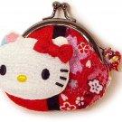 Japanese-style Hello Kitty coin purse wallet Chirimen SANRIO JAPAN New!