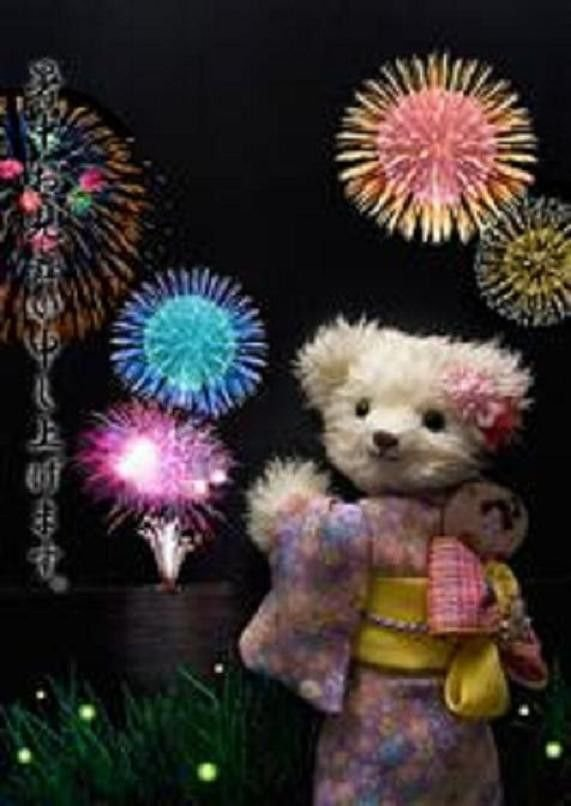JAPANESE BEAR 3D miracle post card Summer fireworks anime kimono Kyoto NEW!