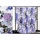 Japanese Furisode-Kimono Set Blue x Light blu x Black Rose, Regular size M  NEW