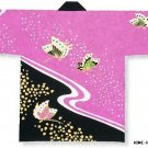Japanese Festival Coat HAPPI ButterflyYukata Kimono Geisha Roomwear JAPAN New