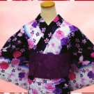 Yukata Kimono set Rose & butterfly for Women's Cosplay Dress Geisha Kyoto New