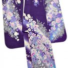 Maiko Kyoto Yuzen Pure Silk Furisode-Kimono Set Purple Lobe Small shortNEWJapan