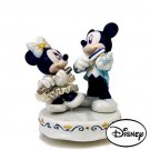 Disney Japan limited Pottery Lace Doll Music Box Micky & Minnie figurine NEW F/S