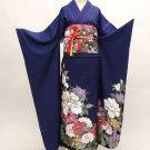 SILK Maiko Kimono set Deep Blue Flower yukata Robe Kyoto Japan Free Shipping NEW