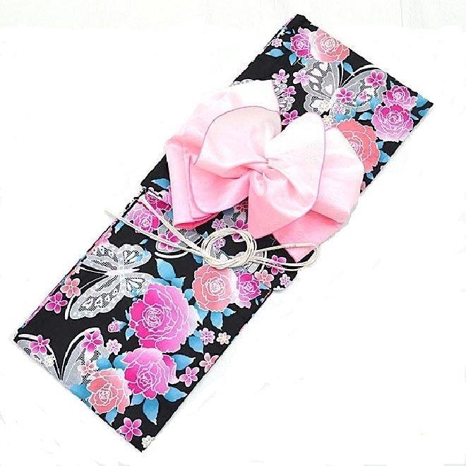 Yukata Set Butterfly Rose Flower Pink Kimono Dress Maiko Regular M JAPAN NEW F/S