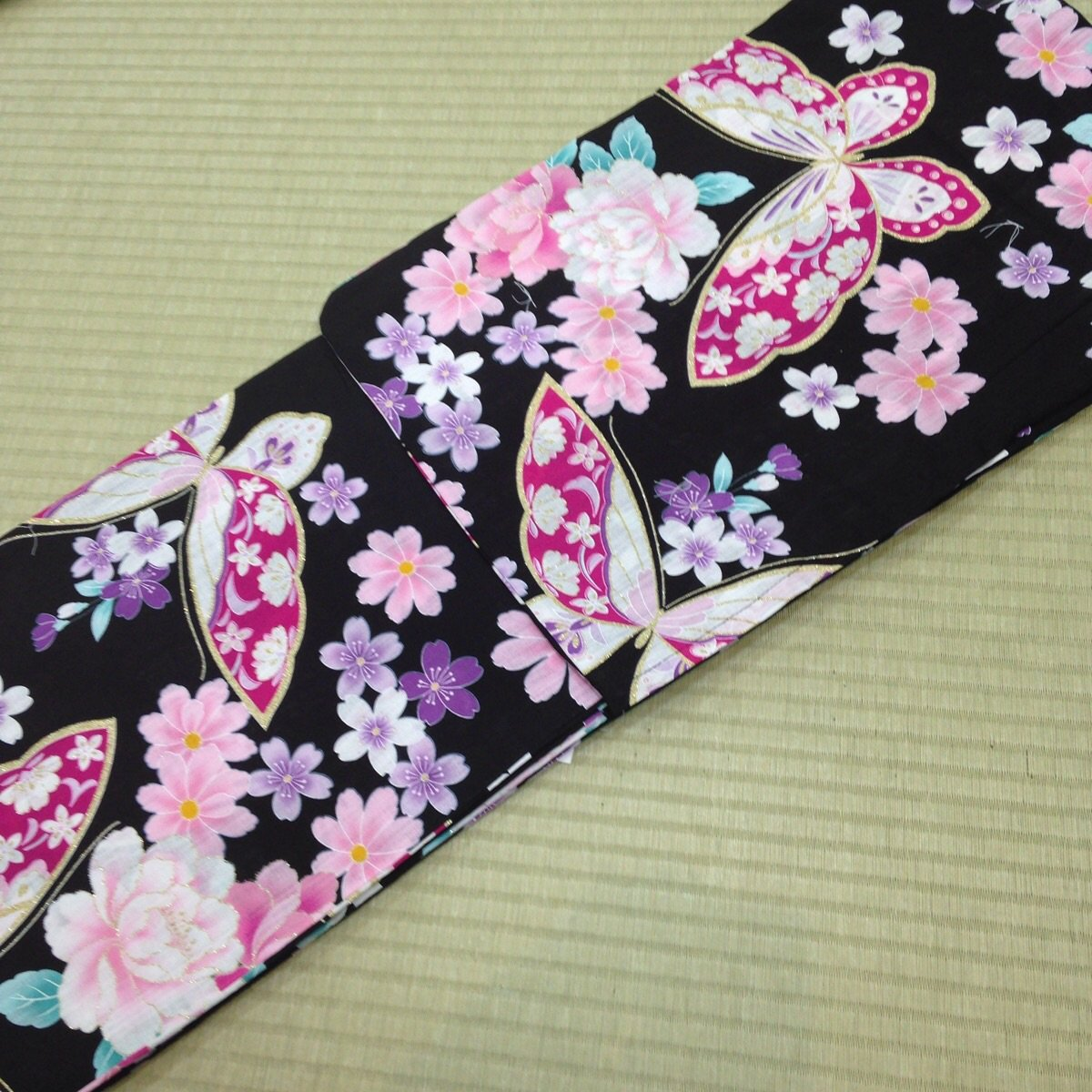 Summer Butterfly Flower Yukata Set Kimono Dress Maiko Regular M Girl's JAPAN NEW