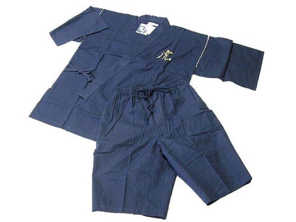Men's Tiger embroidery Jinbei Deep blue kimono Room wear,Samue yukata M/L NEW