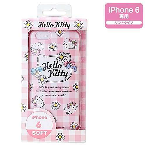 Hello Kitty iPhone 6 cover Case Gingham Flower Pink Sanrio Japan F/S  NEW