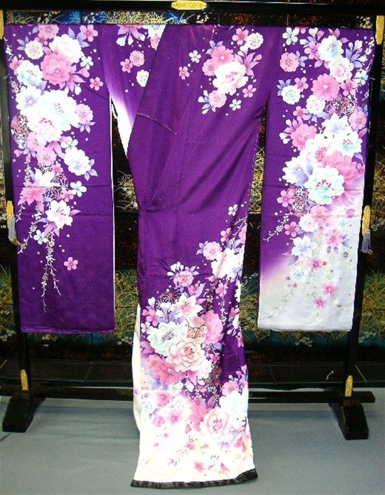 Maiko Kyoto Pure Silk Furisode-Kimono Set Purple Flower dress Lobe M NEWJapan FS