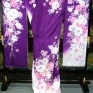 Maiko Kyoto Pure Silk Furisode-Kimono Set Purple Flower dress Lobe M NEWJapan FS