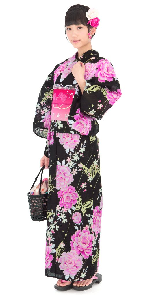 Pink Rose Butterfly Yukata Set Flower Kimono Dress Maiko Regular M NEW F/S Japan