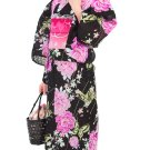 Pink Rose Butterfly Yukata Set Flower Kimono Dress Maiko Regular M NEW F/S Japan