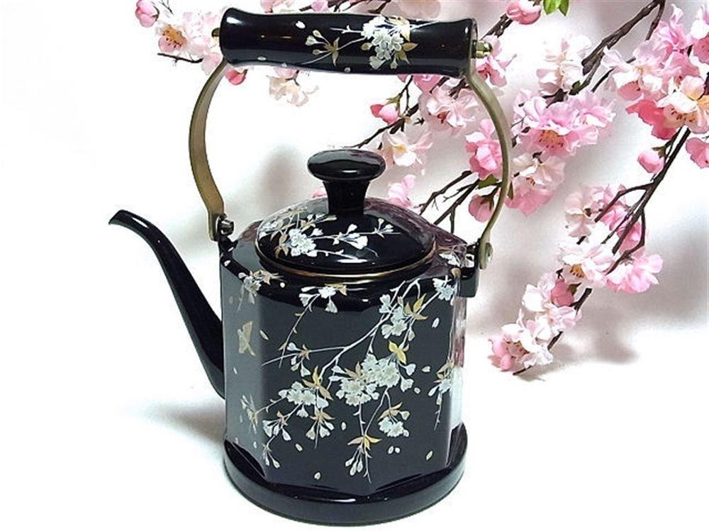 Enamel Kettle Cherry Blossoms Sakura Black 1.5L Kettle for Tee ,Pot Japan NEWF/S