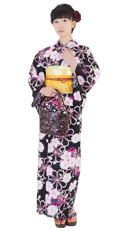 Yukata Set pink Cherry Blossoms Flower Kimono Dress Maiko Regular M NEW F/S