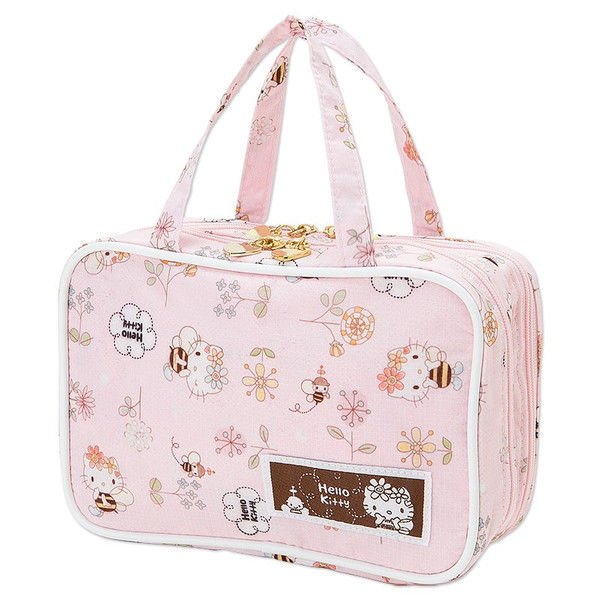SANRIO Hello Kitty make-up Pouch,Bag Cosmetic Case Bee Pink from Japan NEW F/S