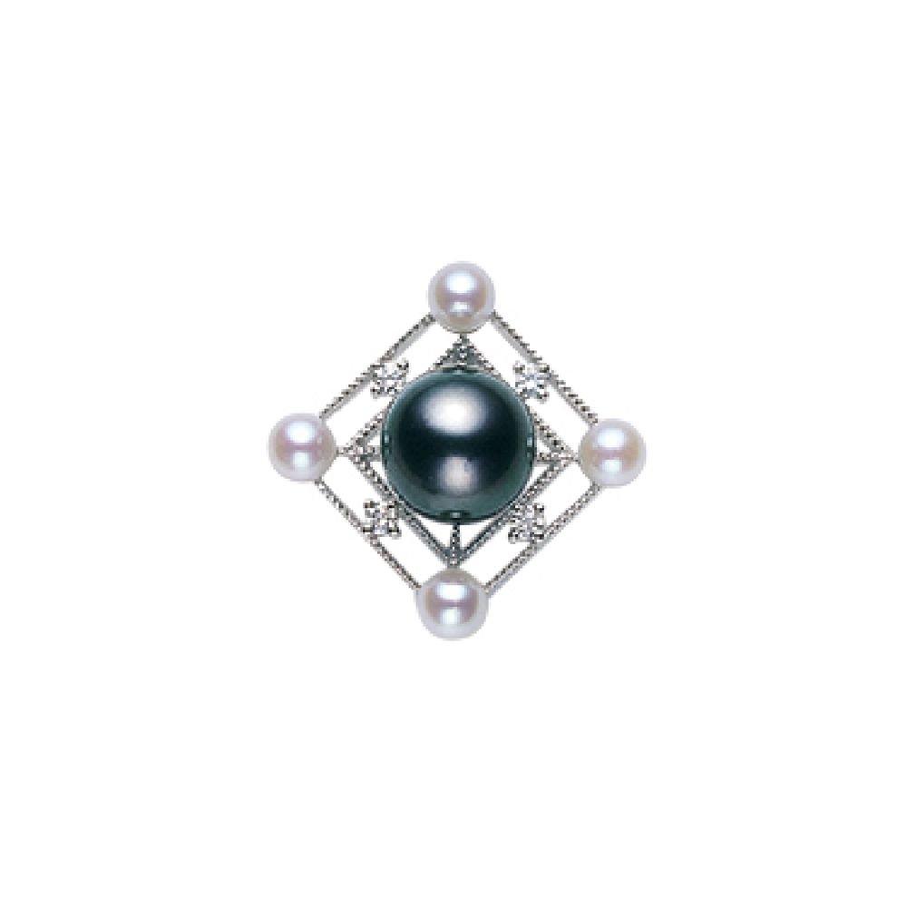 MIKIMOTO Akoya Pearl x Black Pearl Brooch WGK18 Diamond from Japan NEW F/S