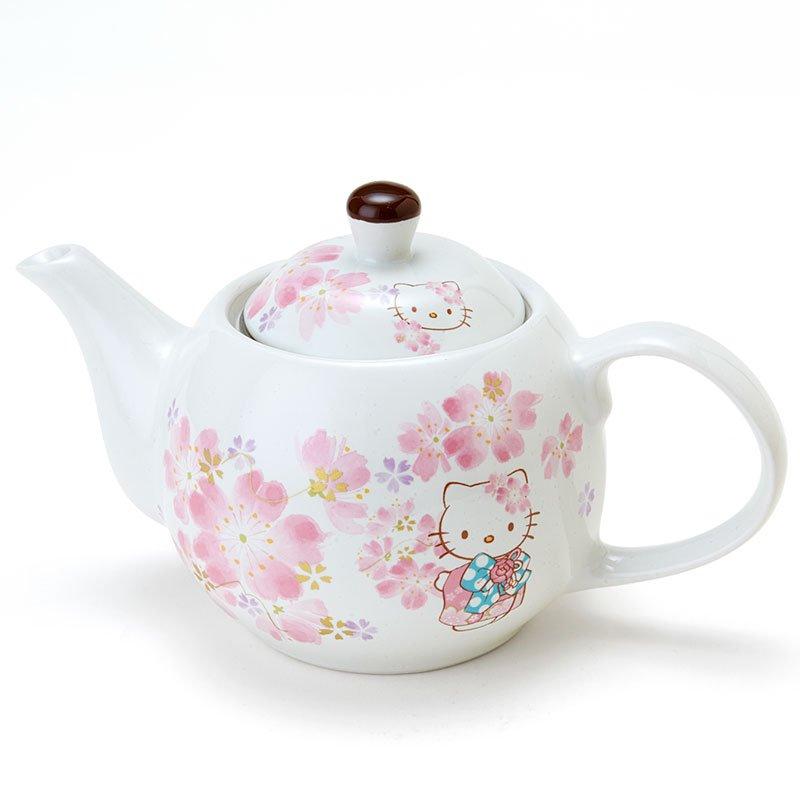 Hello Kitty SAKURA Tea pot flower Porcelain Kettle Kyusu from Sanrio Japan NEW