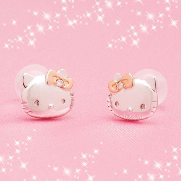 "Hello Kitty & Mimi Simple Faith Diamond Pierce ""Silver & Pink"" Japan NEW EMS F/S"