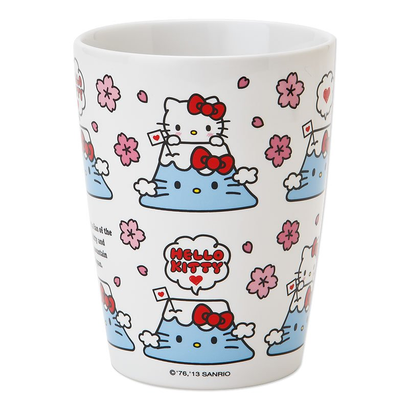 "Hello Kitty Yunomi,Teacup, Bowl ""I LOVE JAPAN Fuji"" Japan Original NEW F/S"