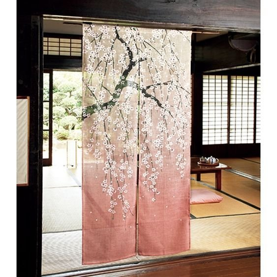 SAKURA Cherry blossom Noren Doorway goodwill partition tapestry polyester NEW