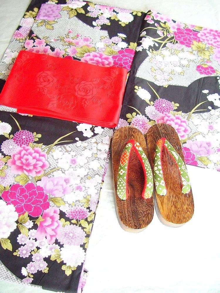 Flower Garden Yukata Set Summer Kimono Dress Maiko MGirls Lobe Kyoto NEWF/SJapan