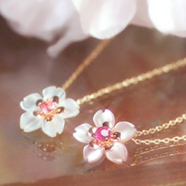 MAIKO SAKURA Cherry Blossom K10 pink gold necklace ruby/tourmaline shellpendant