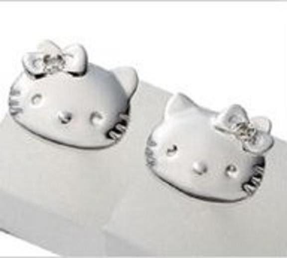 SANRIO Silver Hello Kitty & Mimi Simple Faith Diamond Pierce Japan NEW F/S EMS