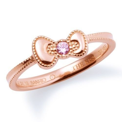 Hello Kittyx Kiss Silver 925 Ring  Pink gold Brand NEW SANRIO Free Shipping