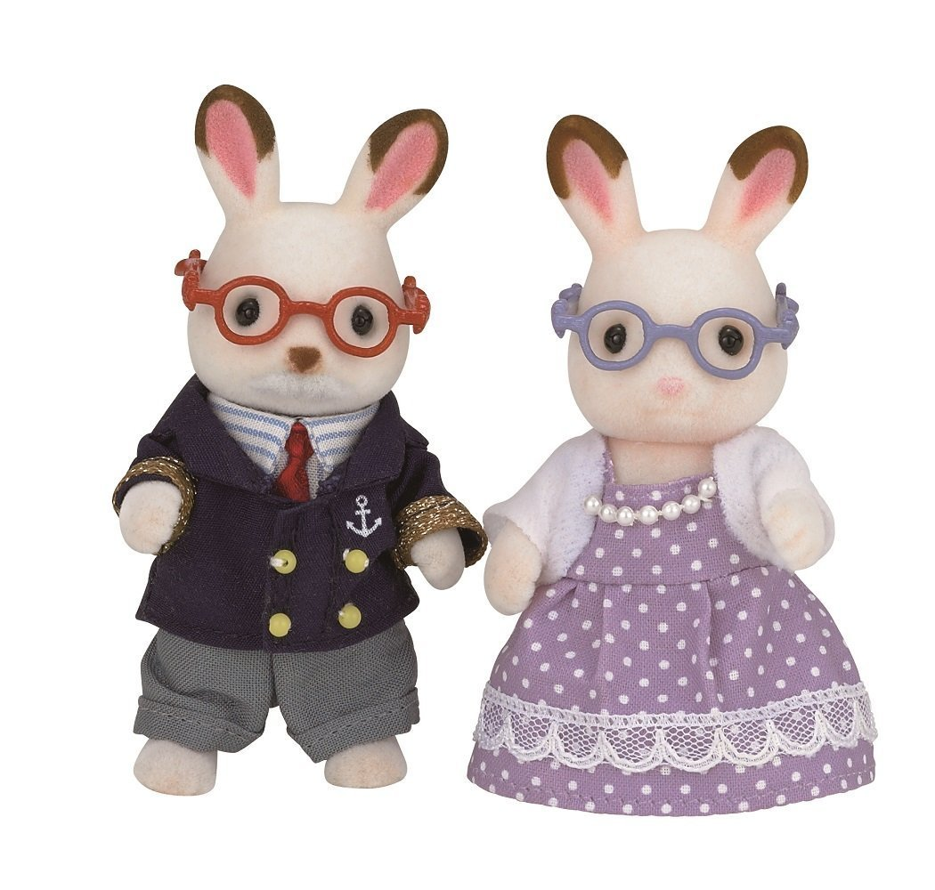 New Sylvanian Families/Calico Critters Chocolate Rabbit Family Grandpa grandma