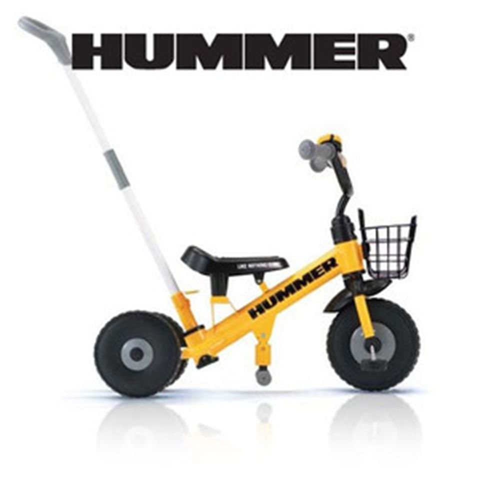 HUMMER Children Infant TRICYCLE 2-3 years old Yellow/ Red Hand bar,Basket NEWFS