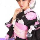 Summer Pink Rose Maiko Yukata 7 Item Set Kimono Dress Women Regular M Kyoto NEW